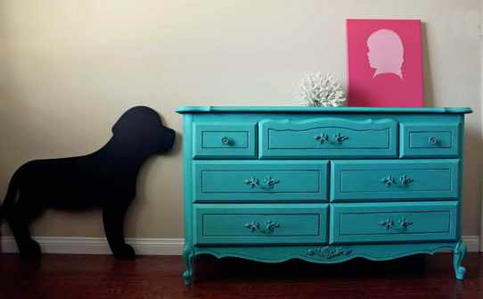 Painting-with-Chalk-Paint-Furniture-With-Dog-Caricatures
