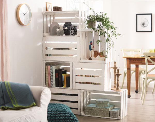 construir una estantera con cajas