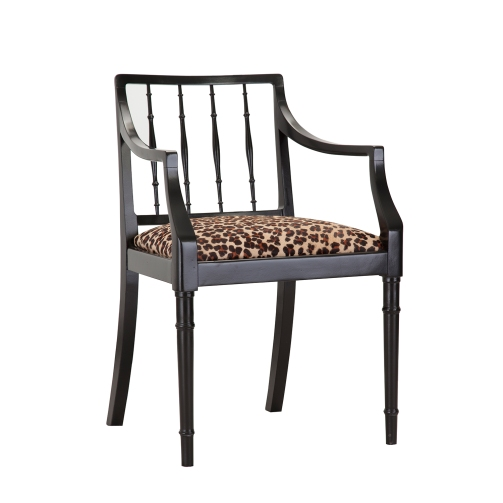 UPCYCLED ELEGANT BLACK CHAIR WITH LEOPARD PRINT COWHIDE SEAT