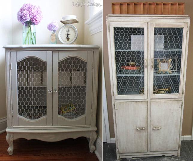 Muebles con tela de gallinero recicla tus muebles - Como forrar muebles con tela ...