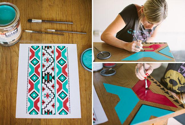 Pintar una mesa con motivos tnicos recicla tus muebles - Pinturas para pintar madera ...