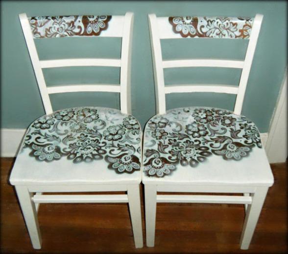 Pintar sillas con motivos de encaje recicla tus muebles - Pintar sillas de madera ...
