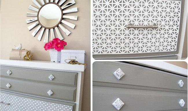 Decorar cajones con chapa de metal recicla tus muebles - Muebles pintados en blanco ...
