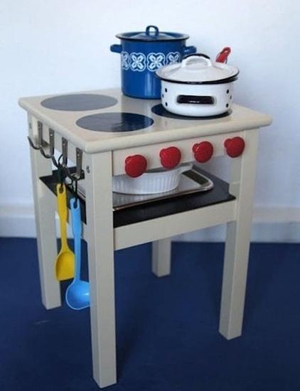 Cocinas de juguete con muebles reciclados recicla tus for Playroom kitchen ideas