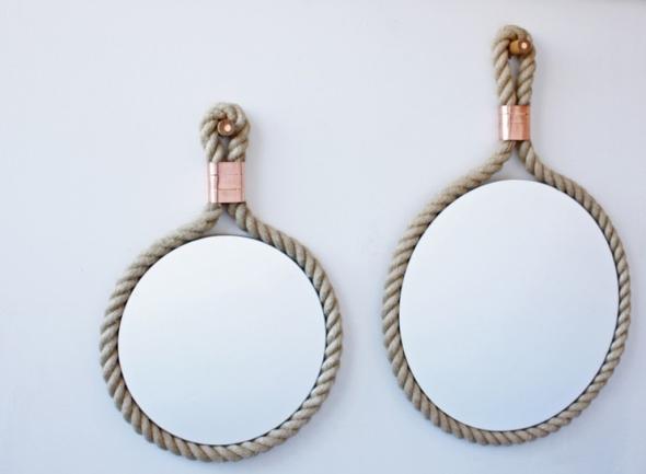 Cinco formas de reciclar una cuerda recicla tus muebles for Espejos con formas originales