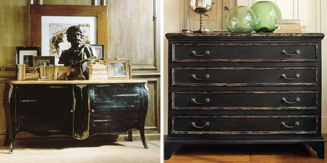 Distressed black negro envejecido recicla tus muebles - Como decapar un mueble oscuro ...