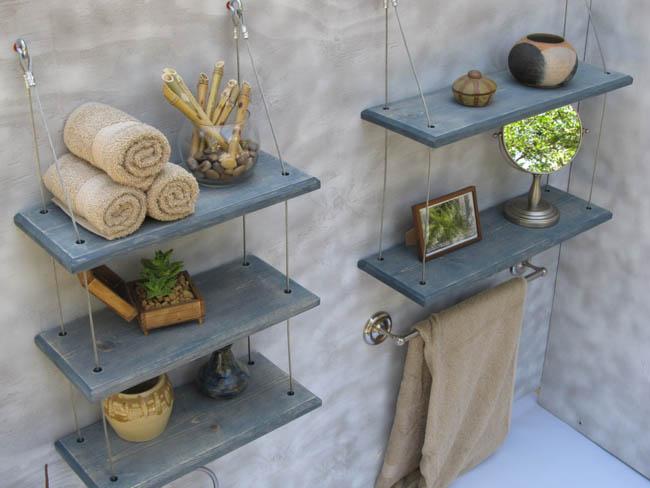 Accesorios de ba o con palets recicla tus muebles - Rangement suspendu salle de bain ...