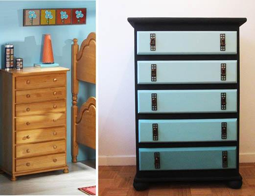 Cajonera en azul degradado recicla tus muebles - Cajoneras para exterior ...