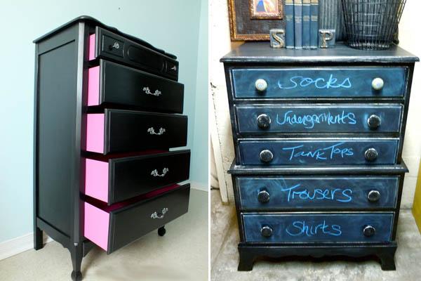 Pintar muebles en color negro recicla tus muebles - Pintar muebles de colores ...